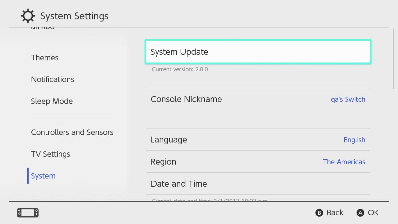 Actualización del sistema resaltada dentro de la opción del sistema en la Configuración del sistema